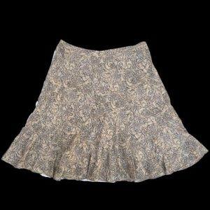 Charter Club Paisley Beige Multicolor Ruffle Skirt